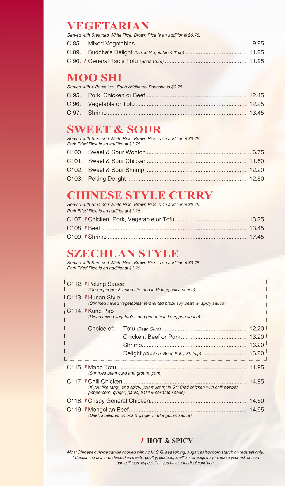 Vegetarian - Moo Shi - Sweet & Sour - Chinese Style Curry - Szechuan Style