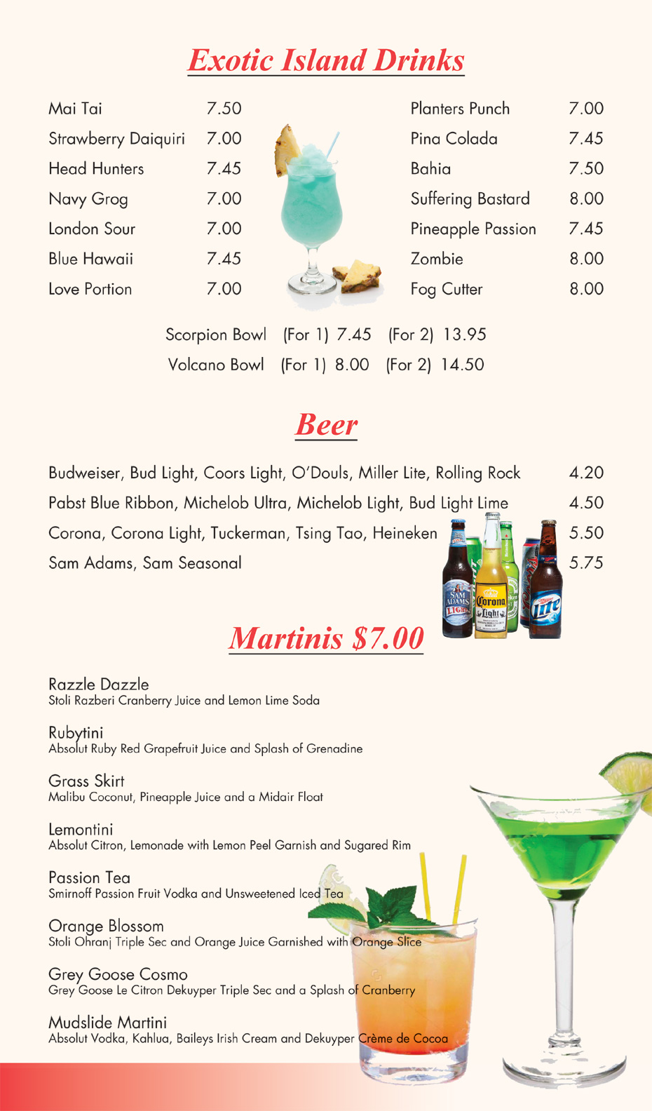 Drink Menu for Peking Sunrise Restaurant and Lounge