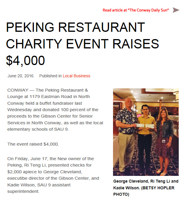 Peking Restaurant Charity Event Raises $4,000